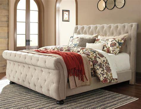 upholstered sleigh bed frame signature design by willenburg king upholstered