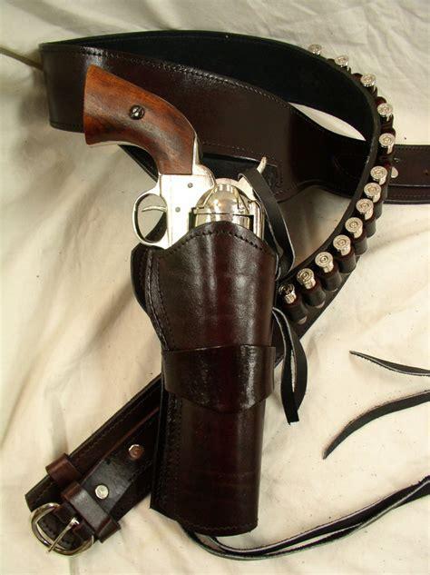 leather gun belt and holster 357 ruger colt uberti western fast draw sixgun pistol leather gun holster belt ebay