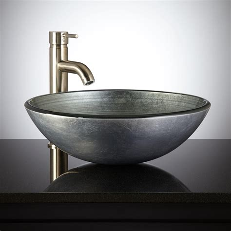 vessel kitchen sink silver glass vessel sink bathroom