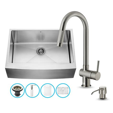 all in one kitchen sinks vigo vg15276 vigo all in one 30 inch farmhouse stainless