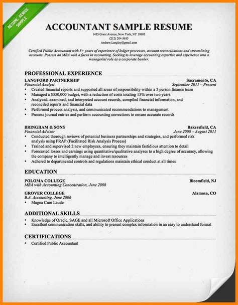 resume format samples word 5 accountant resume format in word cashier resumes