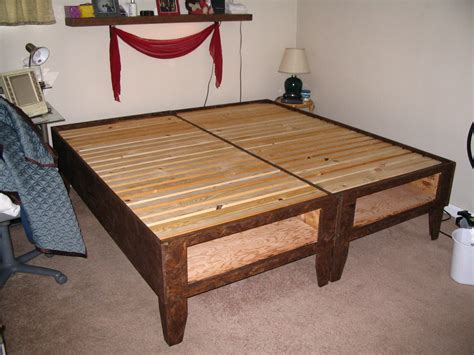 home made bed frame diy bed with storage for 100
