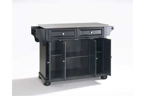 kitchen islands with stainless steel tops alexandria stainless steel top kitchen island in black by crosley
