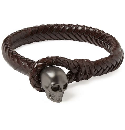 metal for bracelets mcqueen metal skull and woven leather bracelet