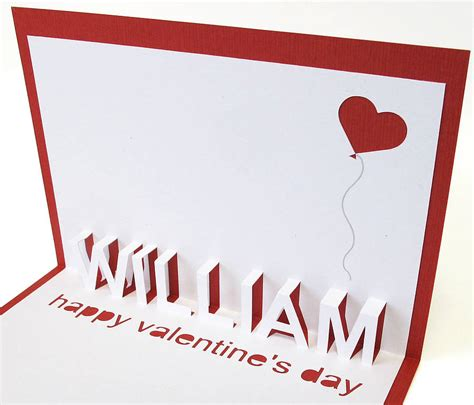 how to make a valentines pop up card personalised pop up card by white