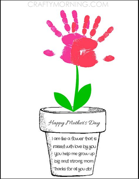 print crafts printable poem flower pot for s day crafty morning