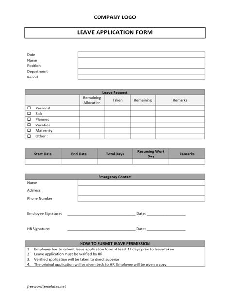 forms templates word leave application form
