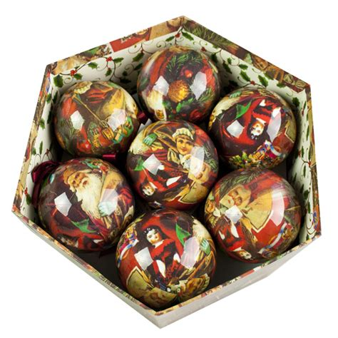 decoupage baubles traditional santa decoupage baubles in gift box 14 x
