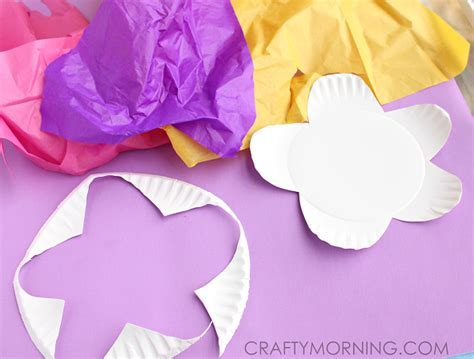 paper crafts tissue paper flowers paper plate flower craft using tissue paper crafty morning
