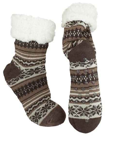 knit slipper socks mirabeau thermal knit slipper socks with gripper snowflake