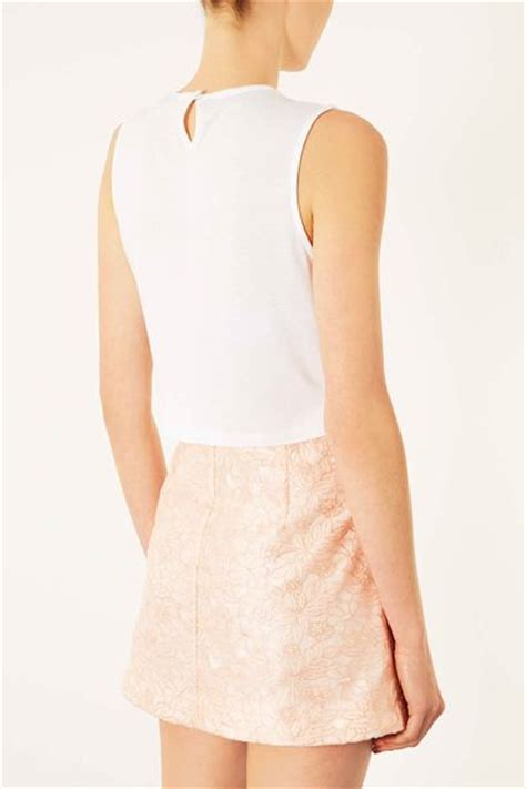 white beaded crop top topshop bead necklace lace crop top in white lyst