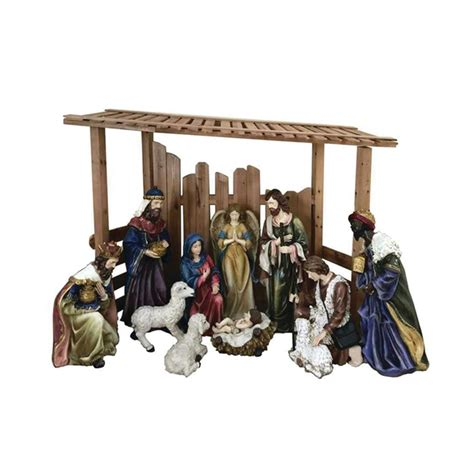 outdoor creche home accents 76 in led lighted burlap nativity