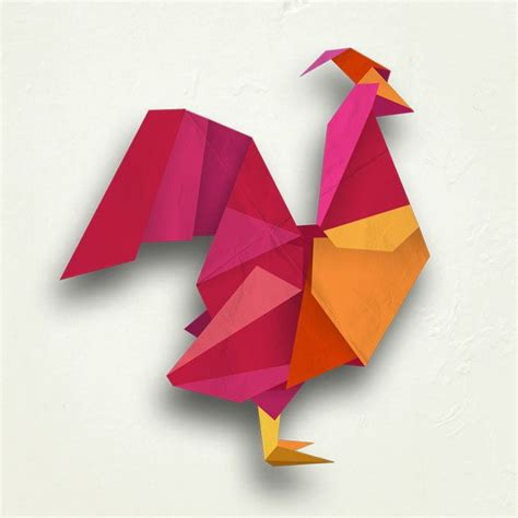 origami hen rooster digital origami illustration by mel rodicq www