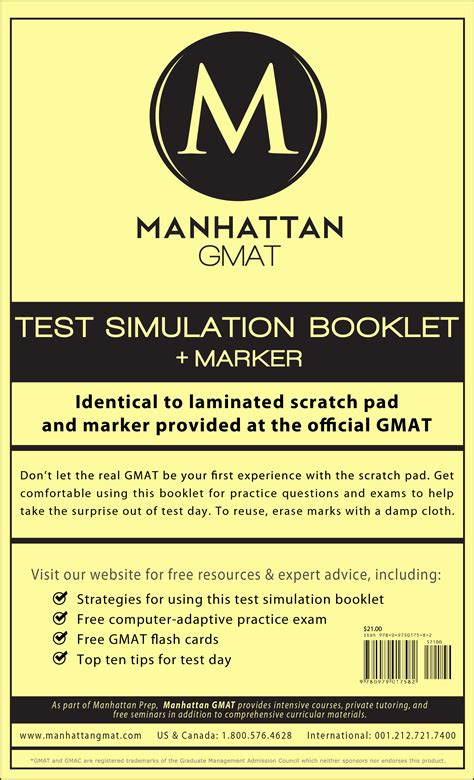 manhattan gmat test simulation booklet w marker book by