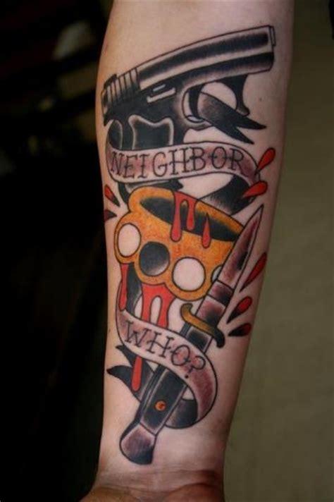old gun dagger tattoo by big kahuna tattoo