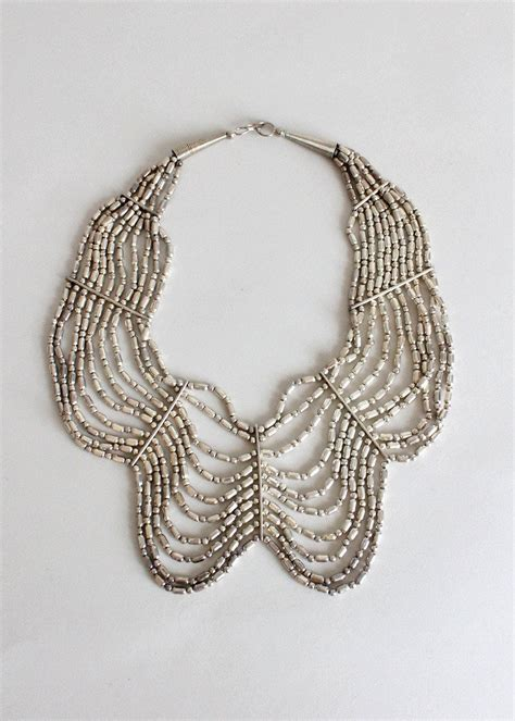 statement beaded necklace vintage silver beaded tribal statement necklace raleigh