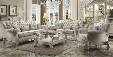 wood living room set versailles traditional ivory velvet formal living room set