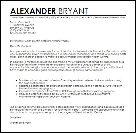 biomedical technician cover letter sample livecareer