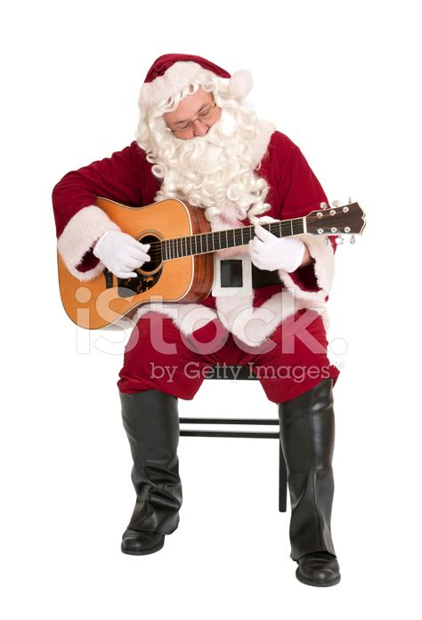 musical santas santa claus the guitar series stock photos
