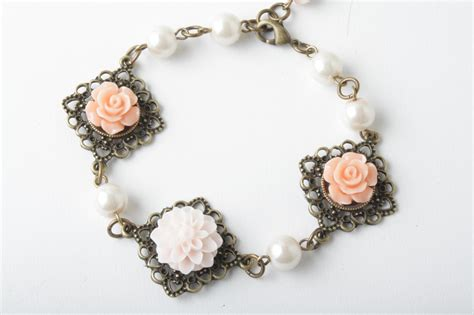 cabochon jewelry flower cabochon and antique brass bracelet shabby chic