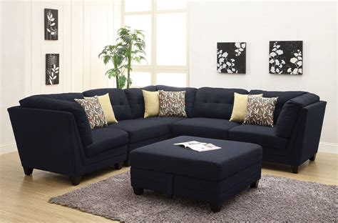 8 Pc Dining Room Set keaton collection 503451 modular sectional sofa blue linen