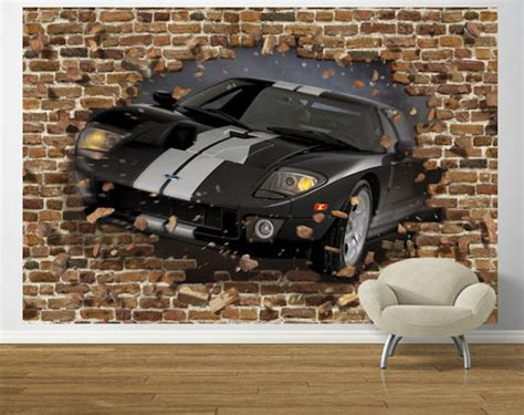 Car Wallpaper For Walls by Black Ford Gt Through The Wall Pre Pasted Mural