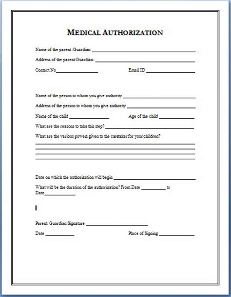 sample medical authorization form templates printable