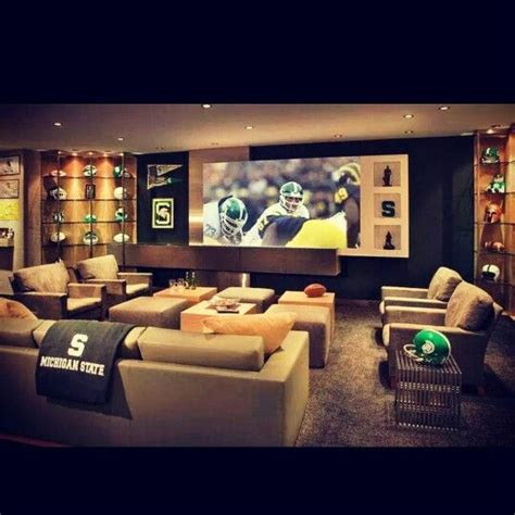 sports themed basement ideas the michigan state theme for a finished basement