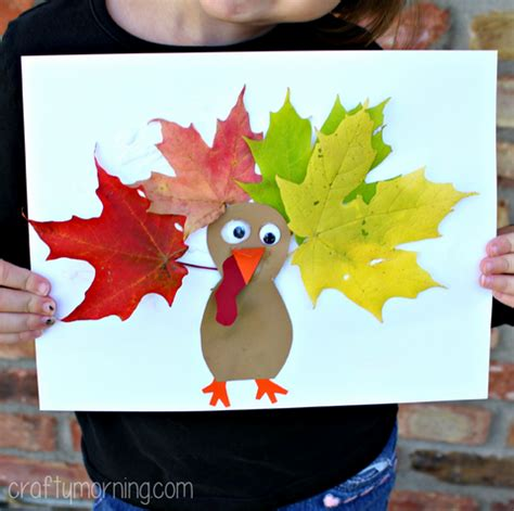 leaf crafts projects leaf turkey craft for crafty morning
