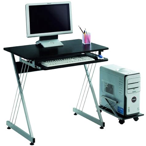 office computer desks sleek black office computer desk with rollout tray only 30 52 shipped reg 200