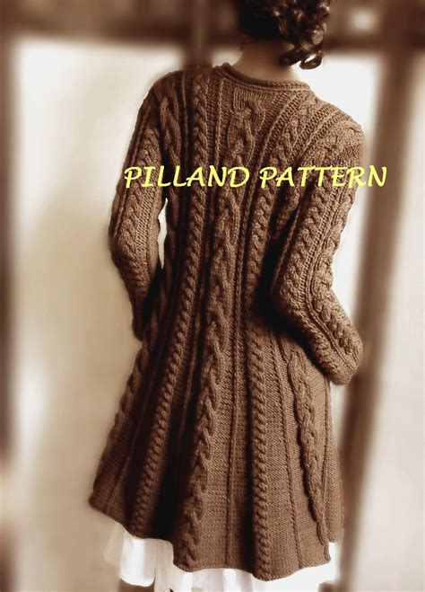 coat knitting pattern sweater coat knitting pattern pdf cable knit a line coat