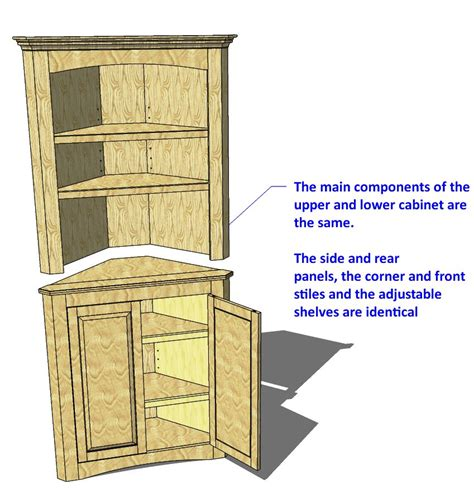 corner cabinet woodworking plans 014 corner cabinet two unit 3d woodworking plans