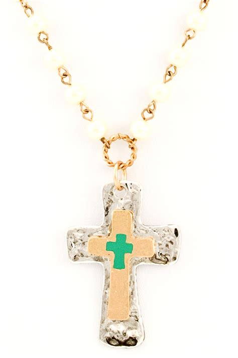 bead cross necklace beaded pearl cross necklace necklaces
