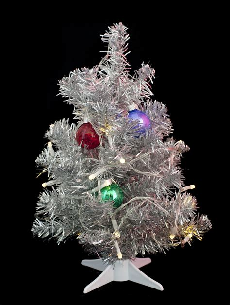 silver tree with lights photo of mini tree free images