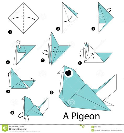 steps to make an origami step by step how to make origami a pigeon
