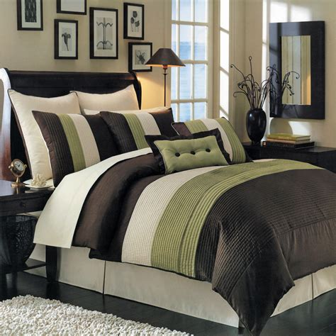 brown comforter set king luxury stripe bedding blue beige and brown king size 8