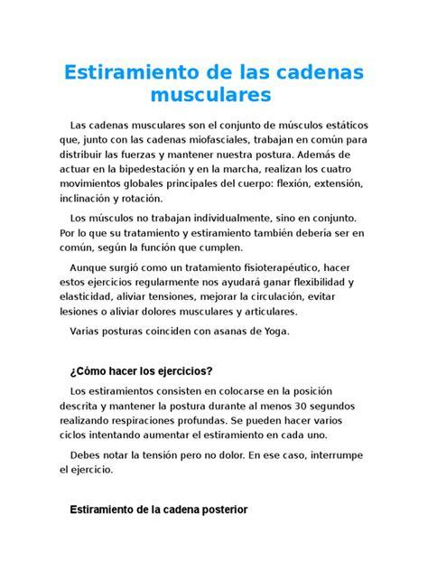 cadenas musculares scribd estiramiento de las cadenas musculares