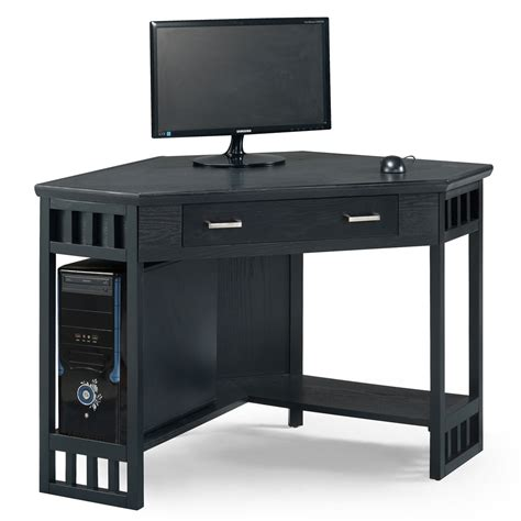 home office black corner computer writing desk leick
