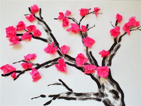 paper craft for flowers cherry blossom tissue paper flower craft tree printable