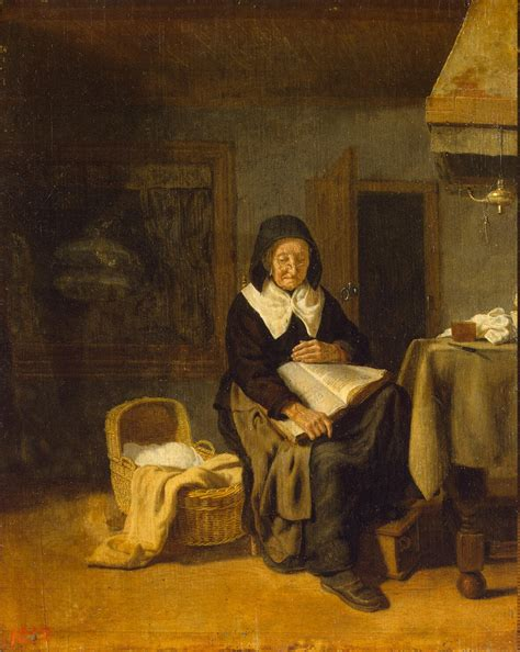 den painting reading a book painting bos pieter den