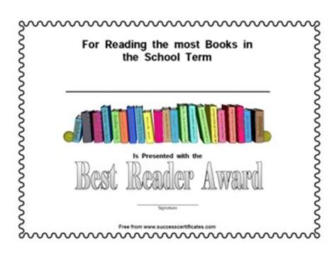 best reader best reader award certificate certificate templates