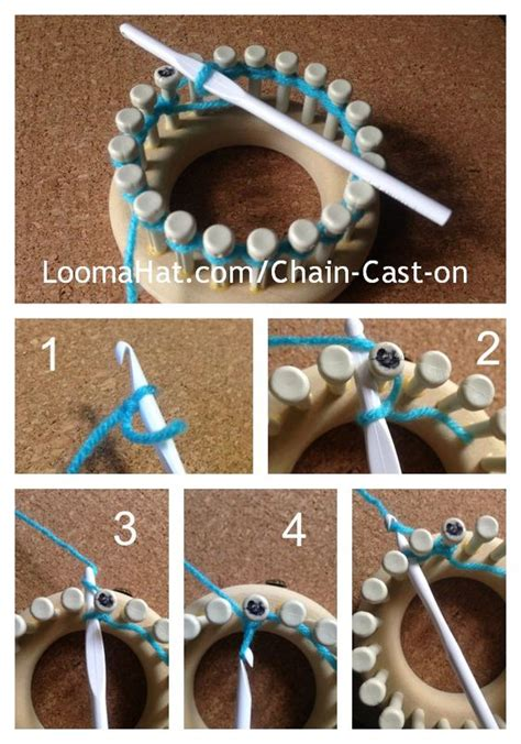 cast knitting loom chain cast on for your loom picture text and