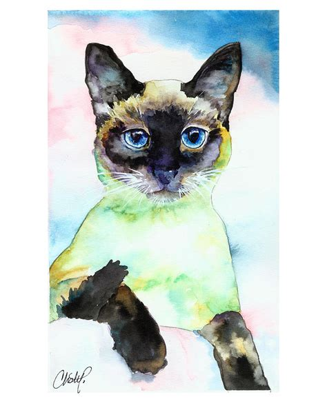 siamese cat painting siamese cat posing painting by freeman