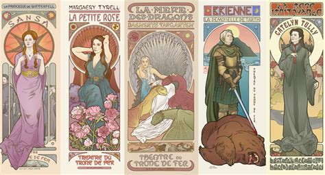 game of thrones characters depicted in art nouveau style