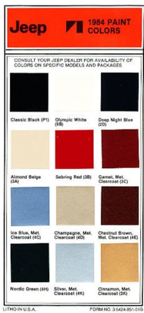 paint colors jeep 1992 jeep paint colors