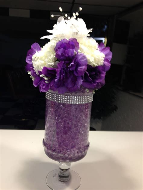 Wedding Centerpiece With Purple Water Metallic