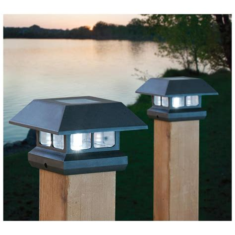 post solar lights outdoor 2 solar 4 quot post lights outdoor landscape fence railing