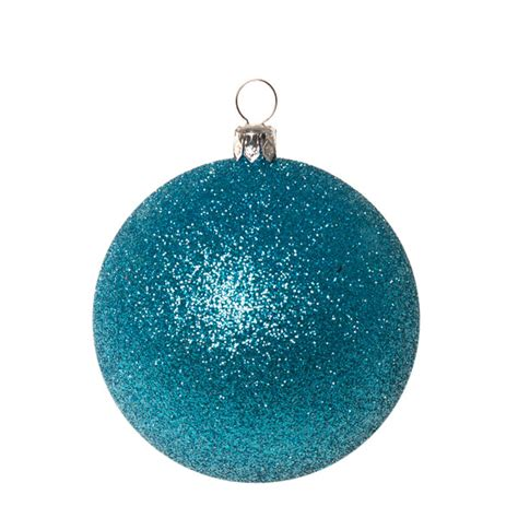 turquoise baubles baubles pack of 6 x 80mm aqua turquoise glitter