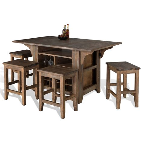 kitchen island table with chairs designs puebla 5 kitchen island with drop leaves set suburban furniture pub