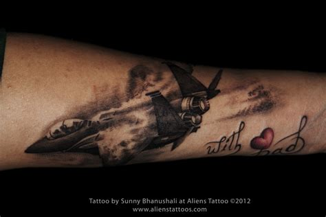 fighter plane tattoo inked by sunny at aliens tattoo mumbai